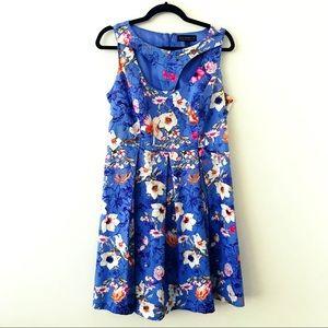 ELOQUII Blue Floral Sleeveless Dress